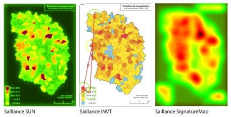 Exemple d'évaluation de la complexité visuelle d'une image cartographique par la simulation de la saillance visuelle selon plusieurs algorithmes (composition de l'auteur)