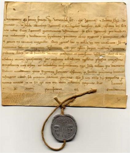 Bulle pontificale d'Innocent III (1216). © Laurent Macé, tous droits réservés