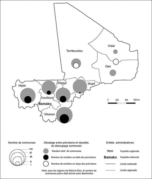 Illustration 3 – Les résultats contrastés du découpage communal par région