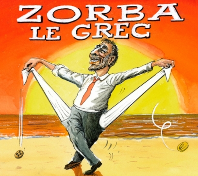 Caricature du film Zorba le Grec, Copyright Burki