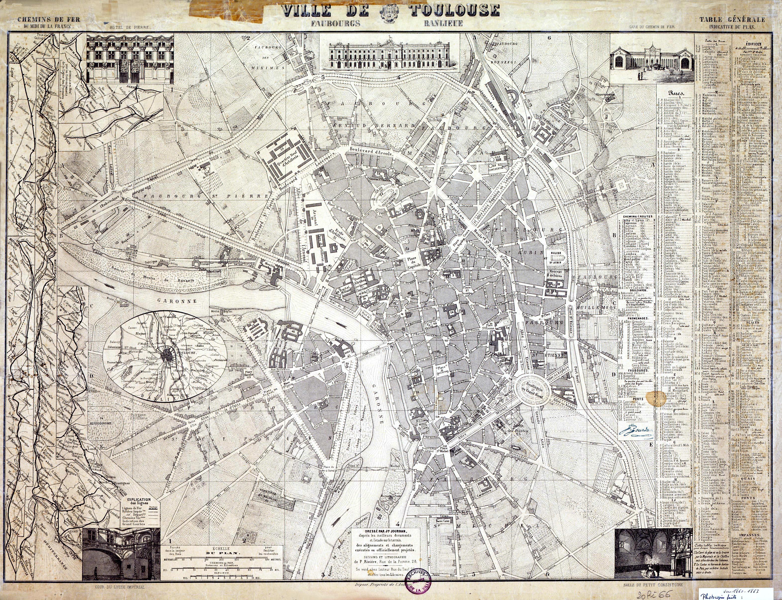 Jourdan J., Prosper Rivière P., 1860, Ville de Toulouse. Faubourgs. Banlieue. Crédits Archives Municipales de Toulouse. Cliquez sur le plan pour l'obtenir en haute défintion
