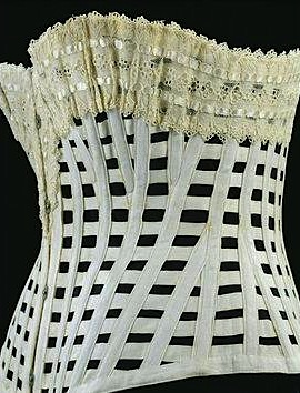 © Victoria and Albert Museum, London, (T.184-1962) Baleen and cotton corset. Made c.1890-1900.