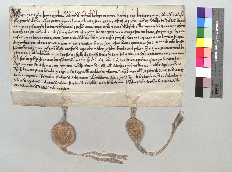Acte de vente de dîme à Einsiedeln par Rudolf von Wädenswil