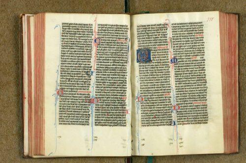 Eléments péritextuels (numérotation des psaumes) : Rennes, Bibliothèque municipale, ms. 2 (111r)