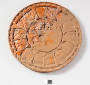 Foto des Wappenmodels von Grafendorf. Auf der gut erhaltenen Seite sind das Wappen Maximilians I. und einiger seiner Herrschaften zu erkennen, zwischen 1508 und 1519.