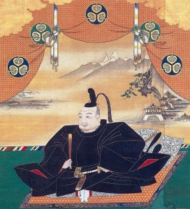 Portrait of Tokugawa Ieyasu with depictions of the mon of the Tokugawa shogun dynasty - three hollyhock leaves in a rounding, 17th c. (Wikimedia Commons)