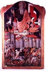 """Nicola da Siena, Il quadro di S. Andrea, Pinacoteca co-munale «Scipione Gentili"""" in San Ginesio. 1463 http://www.battagliaginesini.sanginesio.sinp.net/cap2/cap2.htm"""