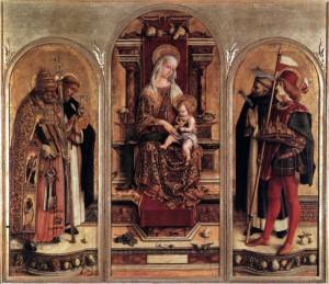 Carlo Crivelli, Trittico di Camerino, Pinacoteca di Brera, 1482.  (Foto: Wikipedia https://it.wikipedia.org/wiki/Polittico_di_San_Domenico_di_Camerino )