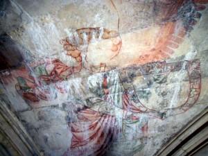 Armoiries du roi de Portugal tenues par un ange, sacristie de l'église de Notre-Dame de la Victoire (Batalha).