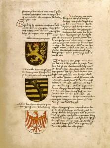 Die Wappen dreier Kurfürsten in den Textverlauf integriert.