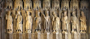 The Nine Worthies in the Town Hall of Cologne, each bearing their coat of arms. (Source: Wikimedia)
