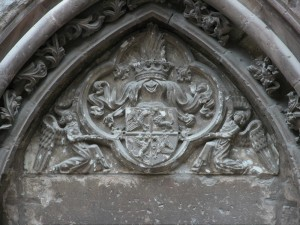 Detail of the Entrance to the spiral staircase tower of the Hunedoara Castle representing the extended coat of arms of John Hunyadi.