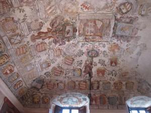 Sant'Angelo Romano (ca. 25 km von Rom in der Region Latium gelegen), Castello Orsini-Cesi, Empfangsraum, mit Ausmalung von vor 1630.