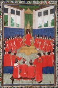 Chapter of the Order of the Golden Fleece. The Hague, Koninklijke Bibliotheek, Ms 76 E 10, fol. 5v. Source: manuscripts.kb.nl.