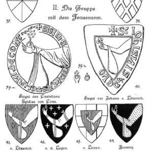 """Fig. 2 Einige Wappen der """"Gruppe mit dem Frauenarm""""(Entnommen aus: Hauptmann, Zehn mittelrheinische Wappengruppen, Taf. 3)"""