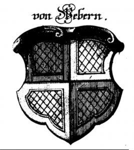 Fig. 1: The coat of arms of the weavers' guild. Image from: Langenmantel, David, Historie des Regiments in des Heil. Röm. Reichs Stadt Augspurg [etc.] (Frankfurt [Oder]; Leipzig: Mertz und Mayer, 1725), plate m.
