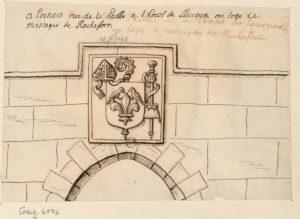 R. de Gaignières, Armoirie de Raoul du Fou, sculptée sur le portail de l'Hotel d'Evreux à Poitiers. BnF, Est. Réserve Pe-8-Fol.