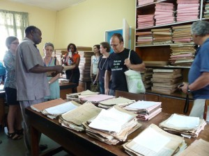 Conference participants visiting the Buea National Archives. Primus Forgwe on the left.