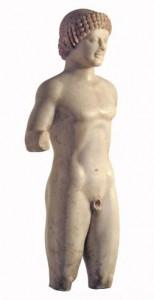 Kouros in marmo, marmo pario, Museo Archeologico Nazionale di Reggio Calabria recupero Guardia di Finanza T.P.A.