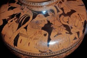Particolare dell'Hydria attica a figure rosse c.d. Hydria Vivenzio – I° quarto V sec. a.C. – Museo Nazionale Archeologico di Napoli