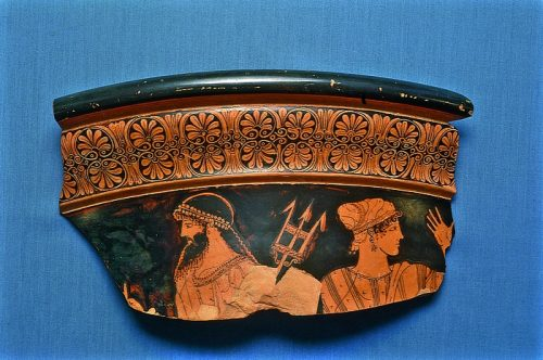Altamuramaleren - Krater with Poseidon and a goddess. Greek, c. 460 BC Fired clay, red-figure technique. 17,2 x 29,3 cm Inventory number: H596