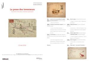 La prose des inventeurs,  le 23 mai 2014, 10 h-17 h  Bibliothèque Jacques Seebacher