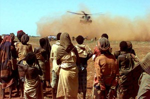 US Marine CH-53 Sea Stallion deliver a sling load of wheat donated by the people of Australia, Somalia 1993 (Photo: PHCM Terry Mitchell) http://en.wikipedia.org/w/index.php?title=File:Aus_wheat_in_Somalia.jpg