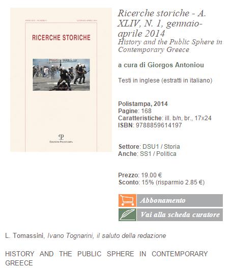 Ricerche storiche   A. XLIV  N. 1  gennaio aprile 2014