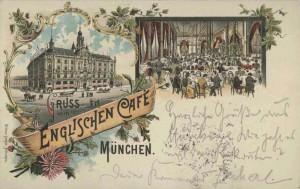 Gruß vom Englischen Café in der Ottostraße 16  Stadtarchiv München: Postkarte, 1896