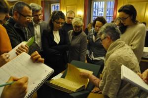 Marie-Geneviève Guesdon présente les manuscrits de la BnF