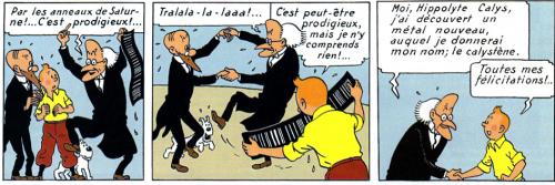 Tintin rencontre le professeur Calys dans son étrange laboratoire, L'Étoile mystérieuse, Les aventures de Tintin, Hergé, 1942.