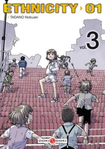 """Niko et les """"souris"""" sur les toits de la zone blanche n°7Source : Couverture du tome 3 du manga Ethnicity 01."""