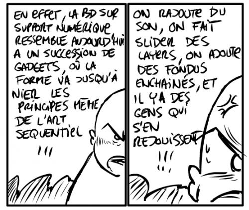 """Une BD numérique... pour parler de la BD numériqueSource : Balak, """"BD numérique, épisode 01"""", Bouzibe, 5 février 2009."""