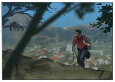 Franomontant sur les hauteurs de MostarSource : Frano Petruša, 2012, Meilleurs voeux de Mostar,Dargaud, extrait de la planche 2.
