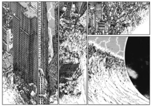 La destruction de la ville par la catastrophe dans Akira Source : Otomo Katsuhiro, 1993, Akira, planche présentée à l'exposition Mangapolis. La ville japonaise contemporaine dans le manga, 2012.