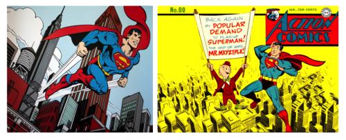 Superman dans Métropolis Source : D'après Jerry Siegel et Joe Shuster, Superman.