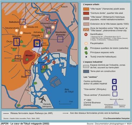 Les espaces verts dans le cœur de Tokyo mégapole en 2002 Source : Philippe Pelletier, « Le Japon, une puissance en question », Documentation photographique, n°8029.