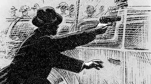 Première apparition de Gavrilo Princip tirant sur l'archiduc François Ferdinand et son épouse, en début de bande dessinée.