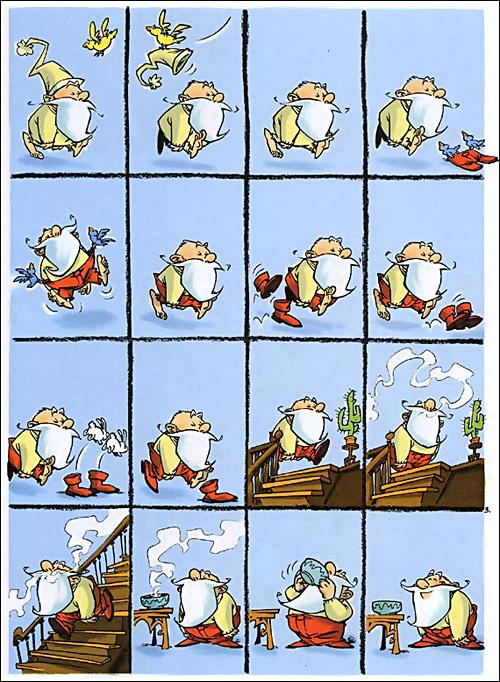 """... ou presque !Source :Thierry Robin, Lewis Trondheim, Corinne Bertrand, et Véronique Le Gros, 2000, Bonjour Petit Père Noël, tome 1 de la série """"Petit Père Noël""""."""
