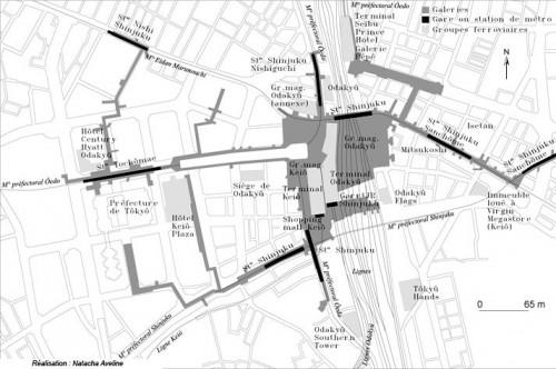 Plan du « quartier-gare » de Shinjuku : Tokyo par le prisme des mobilités quotidiennes Source : Natacha Aveline, 2006, « Tôkyô, métropole japonaise en mouvement perpétuel », Géoconfluences, dossier De villes en métropoles, 20 septembre 2006.