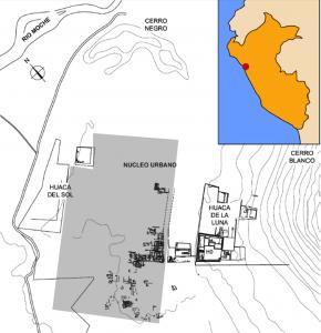 Fig. 1. Componentes del sitio, zona sombreada señala área de estudio. Fuente. Uceda y Morales 2010