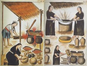 Figura 8. Proceso de elaboración de chicha, Codex Trujillo. Martinez de Compañon.