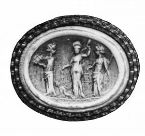 Gemme en verre du 1er siècle av. n. è., Londres, British Museum (inv. 3079)