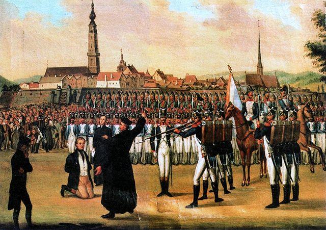 """""""Hinrichtung Johann Philipp Palms"""" von Unbekannt, lizenziert unter Gemeinfrei über Wikimedia Commons - http://commons.wikimedia.org/wiki/File:Hinrichtung_Johann_Philipp_Palms.jpg#/media/File:Hinrichtung_Johann_Philipp_Palms.jpg"""