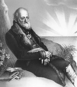 """Titelbild aus Johanns Gistels """"Leben des preußischen General's Freiherrn Theodor von Hallberg-Broich, genannt """"Eremit von Gauting"""", Berlin 1863. (Bild: Von Ferdinand Freiherr von Lütgendorff-Leinburg (1785-1858) [Public domain], via Wikimedia)."""