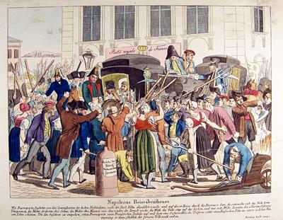 """Radierung """"Napoleon Reiseabenteuer"""", um 1815, Museum Burg Posterstein"""