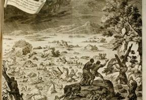 """Aus gegebenem Anlass: Darstellung der Flut aus Johannes Zahns """"Specula Physico-Mathematico-Historica Notabilium"""" 1696"""