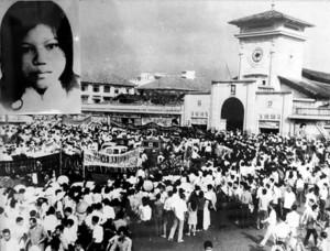 Portrait de Quách Thị Trang (1948- 1963) sur une manifestation étudiante à Saigon