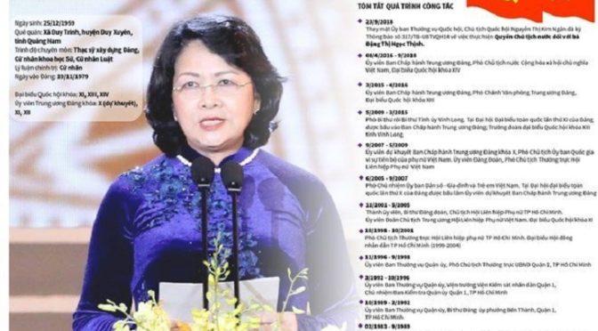Mme Dang Thi Ngoc Thinh, présidente de la RSVN par intérim. Résistante et apparatchik : portrait