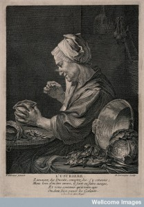 A money lender sits at her kitchen table studying her money. Credit: Wellcome Library, London.